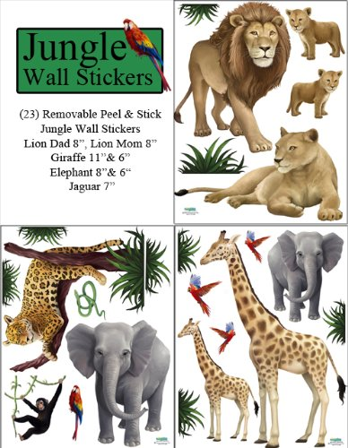 Create-A-Mural : Jungle Animal Wall Decals (23) Peel & Stick Wild Jungle Safari Kids Wall Stickers