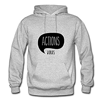 Grey Round-collar Actions Speaks Louder Than Words Women Funny Hoody X-large