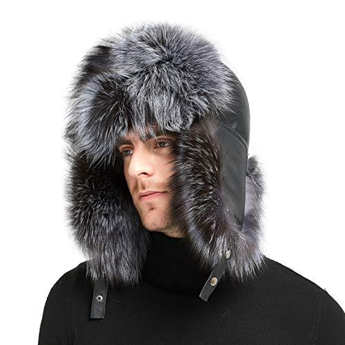 IKEPOD Sheep Leather Aviator Russian Ushanka Winter Fox Fur Ear Flap Trapper Hat,X-Large ()