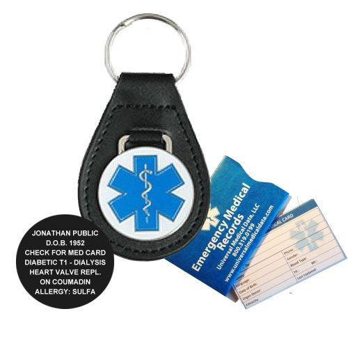 Leather Medical Alert ID Keychain (incl. custom engraving) ()
