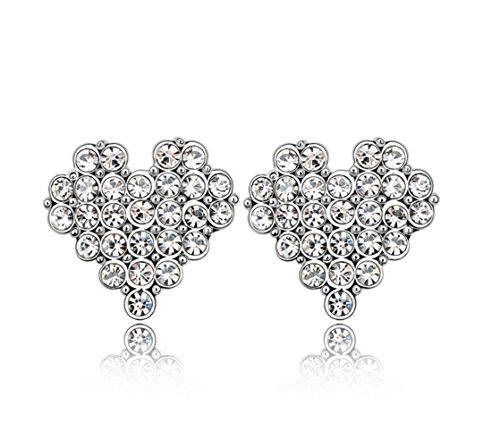 - Gorgeous Jewelry Heart and Soul Singlemindedly Austrian Crystal Female 18K Silver White Stud Earring