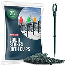 "Christmas yard stakes - Set of 25 Light Stakes with Light Clips - Christmas Pathway Lights Outdoor For String Lights Or Rope Lights on Yards, Driveways & Pathways - 8.5"" Tall - USA Made"