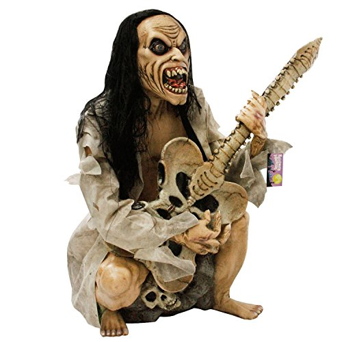 Professional Halloween Decorations (Halloween Haunters Life-Size Seated Zombie Man Guitar Bass Player Musician Rock Band Prop Decoration - Thick Rubber Latex)