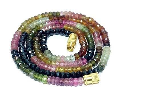 1 Strand Natural fine multi tourmaline loose beads necklace - tourmaline faceted 16