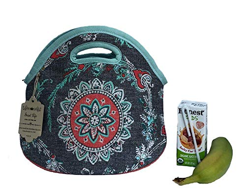 Compact Lunch Bag with waterproof Lining and Zipper for women, Expandable Lunch Box Case Handbag Tote for Outdoor Travel Picnic