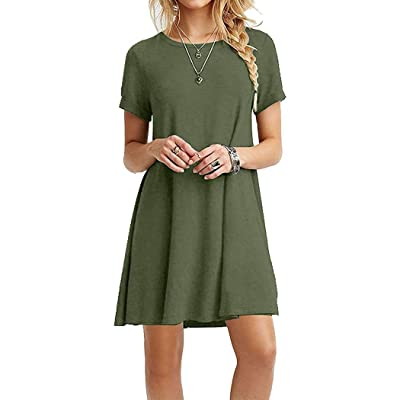 Women Casual O-Neck Short Sleeve Solid Plain Simple T-Shirt Dress: Ropa y accesorios