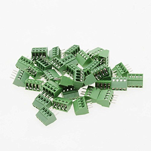 Saim 20 Pcs 4 Pin 2.54mm Pitch PCB Mount Screw Terminal Block Connector 150V 8A