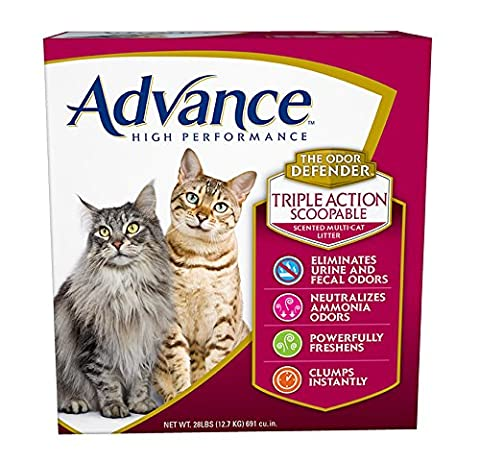 Advance High Performance Triple Action Scented Multi-Cat Litter, 28-Pound Box - Flush Litter Box