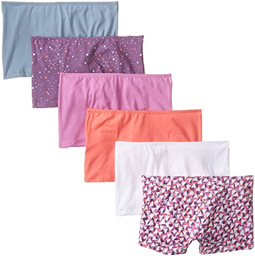 Fruit of the Loom Women's 6 Pack Comfort Covered Waistband Boyshort Panties, Assorted, 9