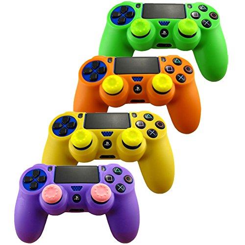 - Pandaren Soft Silicone Skin for PS4 /Slim/PRO Controller Set(Skin X 4 + Thumb Grip X 8)(Green,Orange,Purple,Yellow)