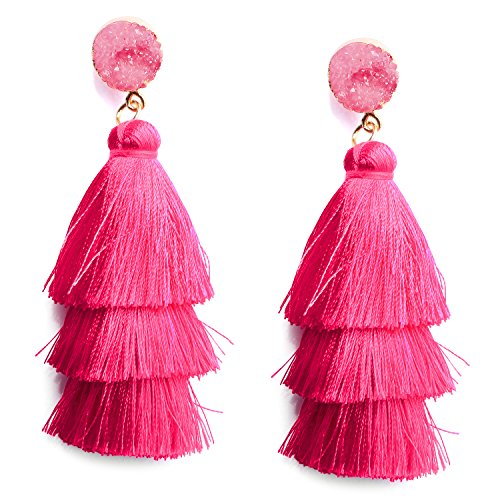 Women's Hot Pink Tassel Earrings Long Fringe Drop Dangle Layered Thread Tassel Earrings for Women Girls Bohemian Jewelry