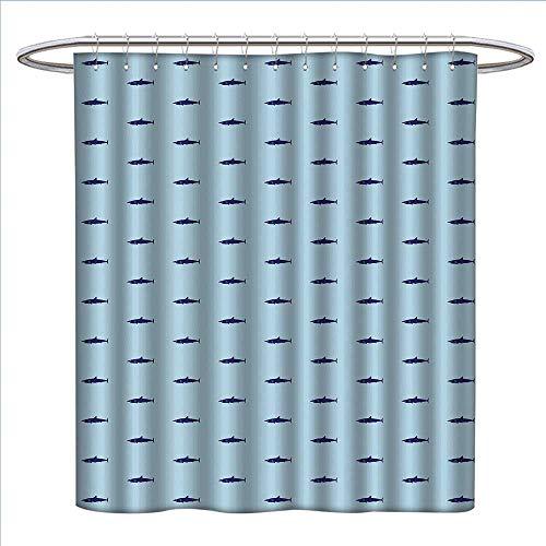 Jinguizi Shark Shower Curtain Customized Ocean Life Pattern in Blue Shades Wildlife Under The Sea Saltwater Fauna Bathroom Set with Hooks W72 x L96 Navy Blue Pale - Salt Titans Tennessee