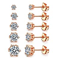 Women's 18K Gold Plated CZ Stud Earrings Man Made Diamond Round Crystal Cubic Zirconia Ear Stud Set ?5 Pairs)