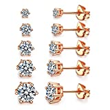 Women's 18K Gold Plated CZ Stud Earrings Simulated Diamond Round Crystal Cubic Zirconia Ear Stud Set (6 Prong 5 Pairs