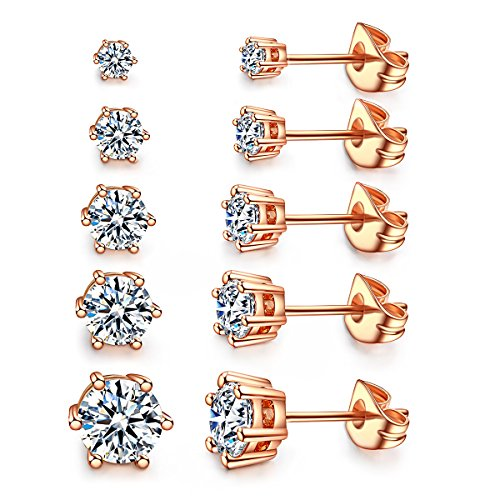 Women's 18K Gold Plated CZ Stud Earrings Simulated Diamond Round Crystal Cubic Zirconia Ear Stud Set (6 Prong 5 Pairs by Kainier