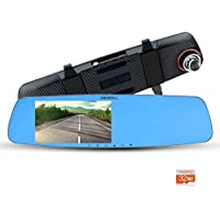 MERRiLL Dash Cam 1080p 170° Wide Angle 15 Mega Pixel 5.0 IPS Rear View Mirror with G-Sensor, WDR, Loop Recording