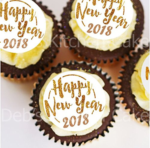 Happy New Year 2018 Cupcake Toppers - PRE-CUT - Gold and White New Year's Eve Cake Toppers - Edible Wafer - 4cm x 24 Debs Kitchen Cakes