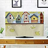 """Auraisehome Protect Your TV of Birdhouses with Birds Hearts Leaves and Flowers Illustration Pistachio Green Beige Protect Your TV W35 x H55 INCH/TV 60"""""""