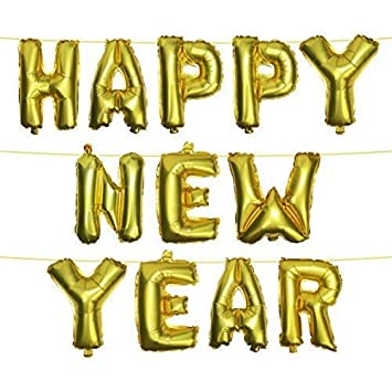 Metallic Gold Happy New Year Foil Balloons With Hanging String
