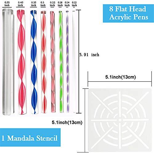 8 Acrylic Rod Mandala Art Dotting Tools for Painting Rocks Canvas Wood 5 Double Sided Dotting Tools 6 Mandala Stencils LOCOLO Mandala Dotting Tools 1 Paint Tray