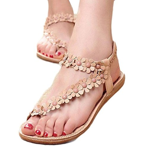 ANBOO Sandals Khaki Shoes Clip Toe Beach Women's Sandals Bohemia Summer arqSwga7