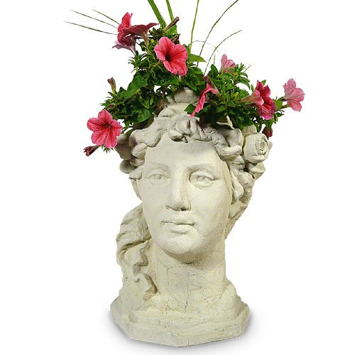 Garden Goddess Outdoor Head Planter, 17-Inch Fine Concrete