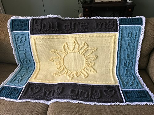 You Are My Sunshine crochet baby blanket in yellow, teals, and taupe by MyBonbon Crochet