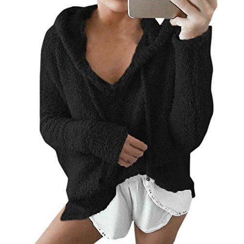 Shirts Fox ulein Fausse Femmes Manches Automne Jumpers Pullover Mode et Fr Hiver Lache Capuche Casual Blouse Fourrure Tops Noir Hauts Sweat Longues Sweats Axwq5
