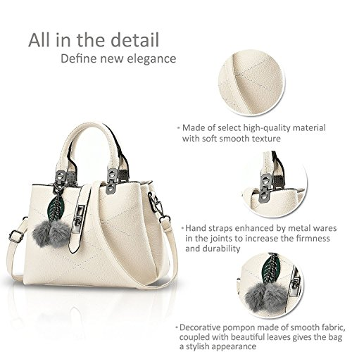 HT womens handbag - Bolso de asas para mujer blanco