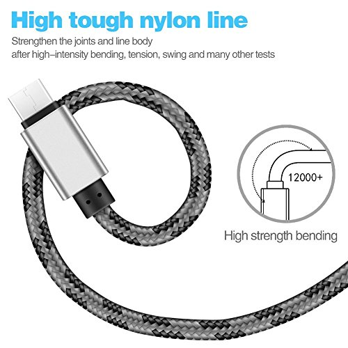 SENTLY USB Type C Cable, USB C Cable (3-PACK3*6*6*10) Nylon Braided Long Cord USB Type A to C Fast Charger for Macbook, LG G6 V20 G5,Google Pixel, Nexus 6P 5X, Nintendo Switch, Samsung Galaxy S8+