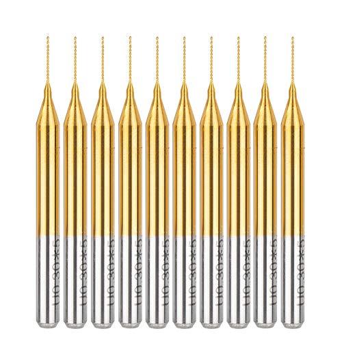 HUHAO Small Drill Bit Carbide Spiral Flute PCB Drill Bits TiN Coated Set 0.8mm Tip Twist Drill Bit Set 1/8 Inch Shank 10PCS