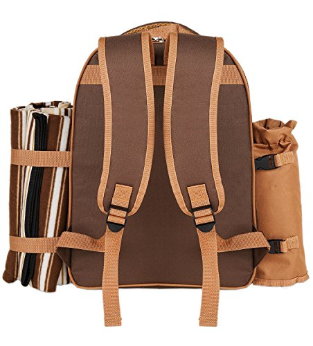 Picnic Backpack Bag for 4 Person With Cooler Compartment, Detachable Bottle/Wine Holder, Fleece Blanket, Plates and Cutlery Set Perfect for Outdoor, Sports, Hiking, Camping, BBQs(Coffee) by APOLLO WALKER (Image #3)