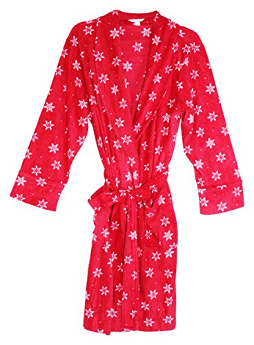 Charter Club Womens Fleece Short Robe Red L from Charter Club