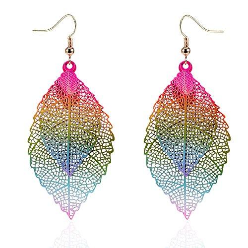 NOVMAY Womens Double Leaf Lightweight Vintage Design Earrings for Women Girls