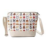 Crest Design Cute Canvas Crossbody Bag Shoulder Bag Purse for Girl and teenage (Beige Pets)