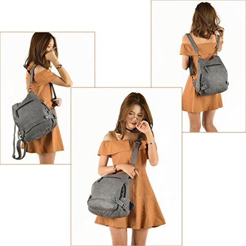 Bag Grey Shoulder Purse Backpack Capacity Rucksack Washed Leather Crossbody Women Large Ladies Artwell Security Convertible wUpqOq