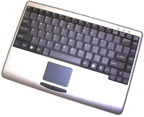 (Adesso Mini SLIMTOUCH TOUCHPAD USB Keyboard Silver with Black Keys (AKB-410US))