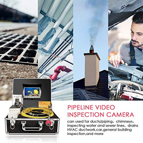 Sewer Camera 100ft Snake Cam with DVR Video Pipe Inspection Equipment 7  inch LCD Monitor Duct HVAC 1000TVL Sony CCD Borescope Endoscope Waterproof