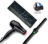 Jose Eber Clipless Curling Iron 25mm Gift Set Bundle with Quickshine Travel Blow Dryer, Travel Heat Mat/Case, Universal Treatment Blow Dryer Nozzle - Black