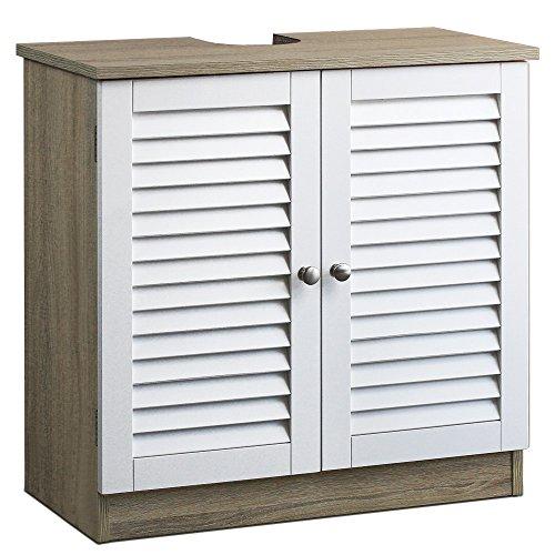 Waschbeckenunterschrank im Holzdekor mit Lamellentüren