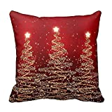iZHH Christmas Print Home Decor Pillow Cases Cotton Linen Sofa Cushion Cover