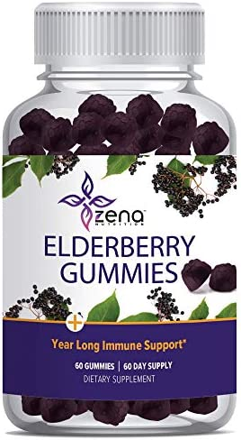 Zena Elderberry Gummies 75mg, Immune Support and Powerful Antioxidant Herbal Supplement with Vitamin C Zinc – 60 Count