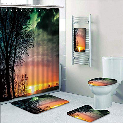 (Bathroom 5 Piece Set Shower Curtain 3D Print,Sunset,Horizon Sky with Unusual Colored Storm Clouds Up in Air and Tree Silhouette Image,Multicolor,Bath Mat,Bathroom Carpet Rug,Non-Slip,Bath Towls)
