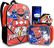 Power Rangers Backpack With Lunch Box For Boys, Girls ~ 4 Pc Bundle With Power Rangers School Bag For Kids, Lu