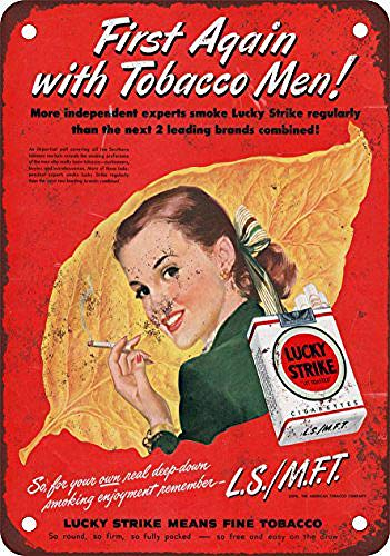 WallDector Lucky Strike First with Tobacco Men Iron Poster Painting Tin Sign Vintage Wall Decor for Cafe Bar Pub Home Beer Decoration Crafts