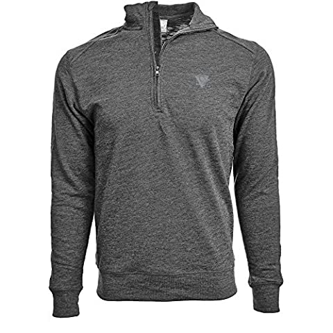 NHL Pittsburgh Penguins Men's Hudson Faux Show Text Quarter Zip Pullover, Large, Heather Charcoal - Pittsburgh Penguins Jacket