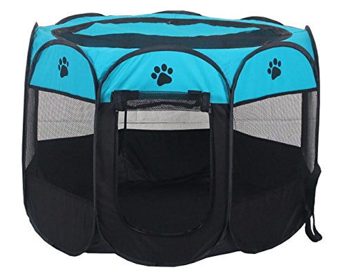 Pet Playpen Foldable Pen for cute Portable Pet Playpen,Like Carry Bag,Indoor/Outdoor use by Dogs/Cats/Rabbit etc.(4 colors,8 Sizes)