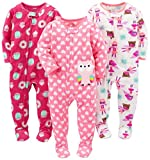 Simple Joys by Carter's Baby Girls' 3-Pack Flame Resistant Fleece Footed Pajamas, Superhero/Donut/Owl