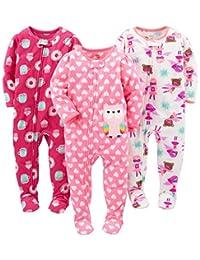 Simple Joys by Carter's - Pijama de Forro Polar Resistente al Fuego para niñas, 3 Unidades, 12 Meses