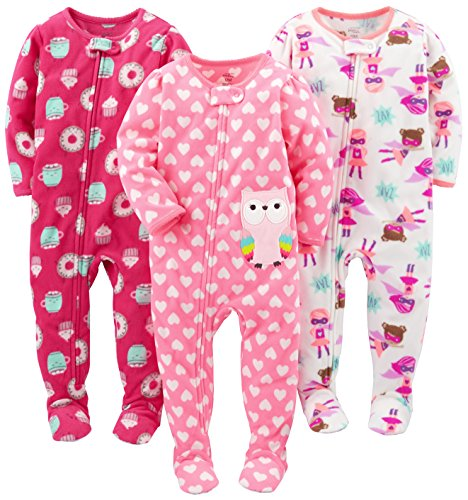 Simple Joys by Carter's Baby Girls' Toddler 3-Pack Flame Resistant Fleece Footed Pajamas, Superhero/Donut/Owl, 3T -